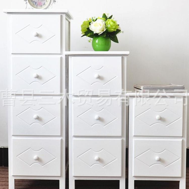 厂家直销简约小柜子储物收纳整理多层抽屉置物高低柜实木一件代发