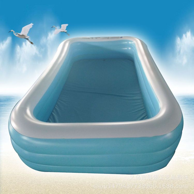 廠家直銷成人嬰幼兒童充氣泳池超大家庭海洋球池藍白長方三環水池