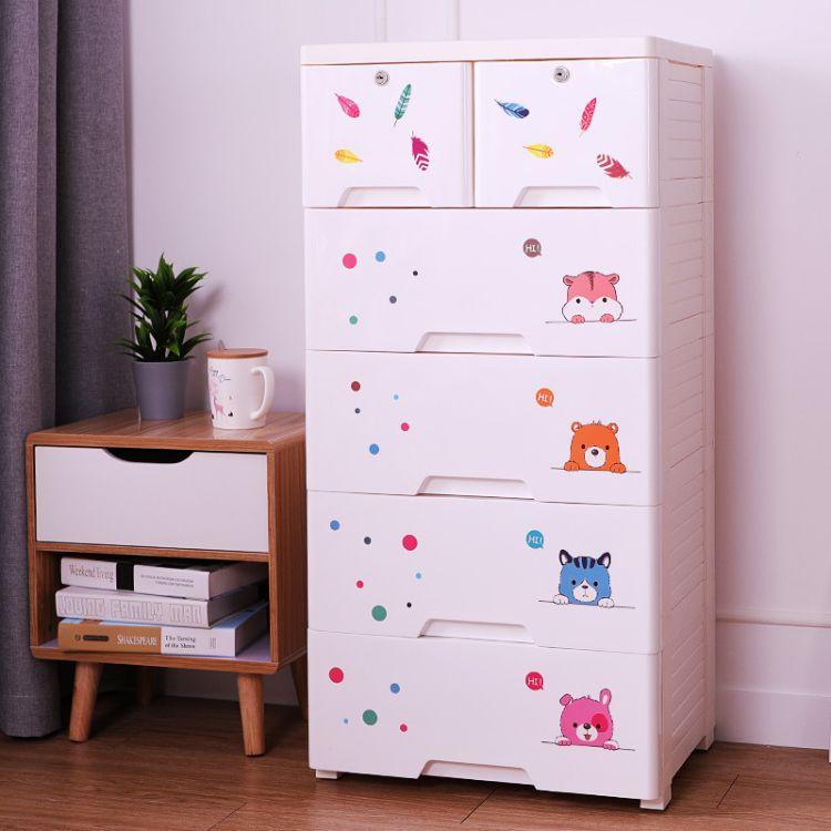 批发加厚抽屉式收纳柜塑料儿童玩具储物柜卡通DIY简易衣物整理柜
