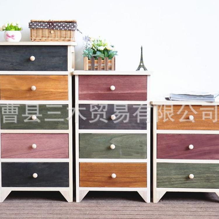 厂家批发美式乡村实木储物收纳整理抽屉组合卧室床头斗柜一件代发