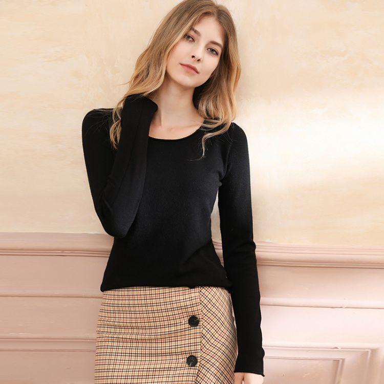 2018秋冬新款女羊毛衫圆领修身短款长袖套头衫打底衫针织衫毛衣女