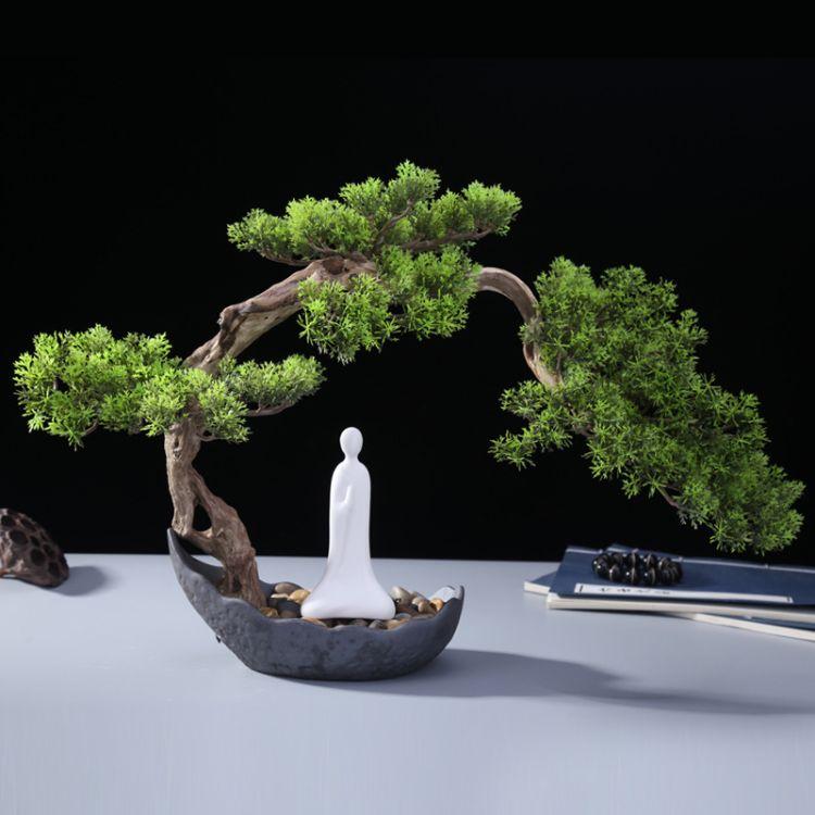 中式家居摆件杜鹃根迎客松盆景摆件创意客厅玄装饰品陶瓷家居摆件