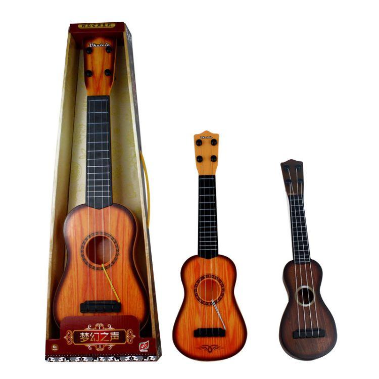 儿童仿真钢弦尤克里里吉他可弹奏乐器梦幻古典木纹益智早教玩具