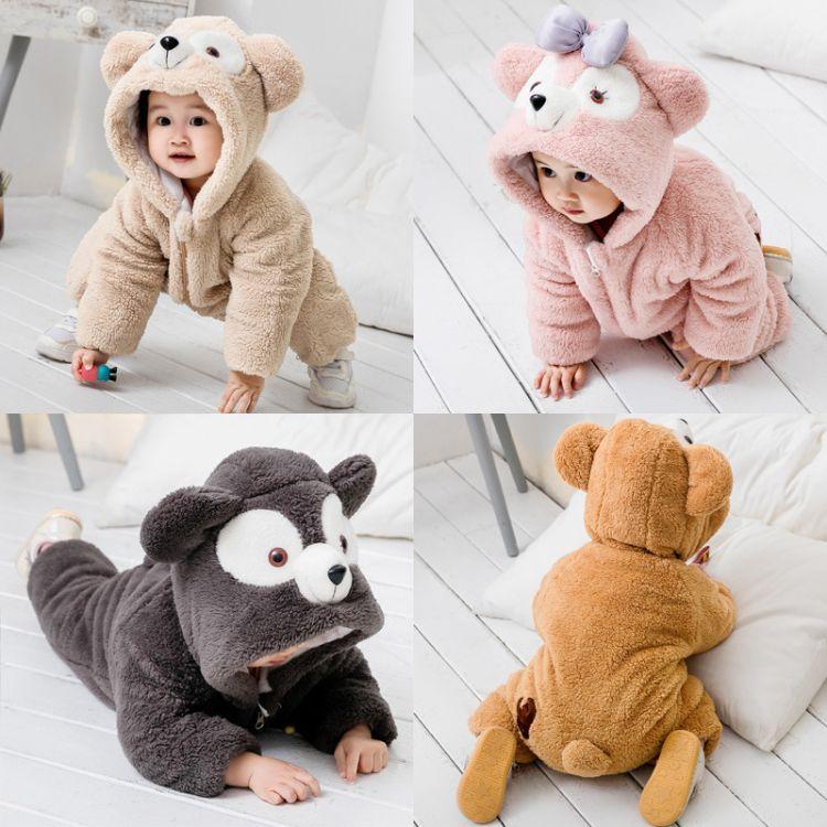 2018婴儿儿宝宝冬装连体衣爬服达菲熊画家猫加厚连体衣爬爬服