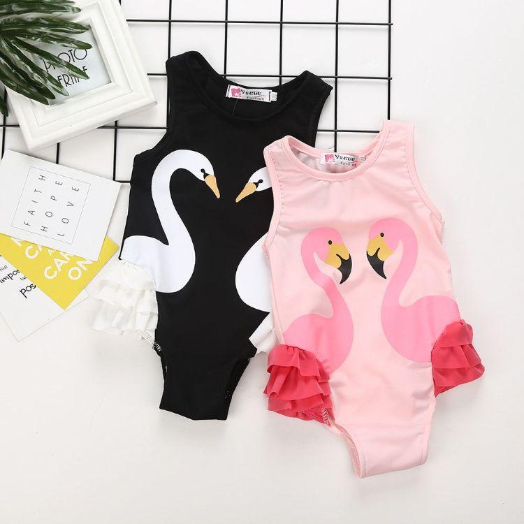 黑天鹅连体儿童游泳衣超萌小女孩女童泳衣婴幼儿宝宝泳装