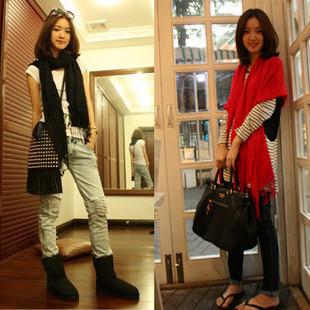 秋冬加厚保暖仿羊絨純色中國紅圍巾批發 大紅仿羊絨披肩 可定制