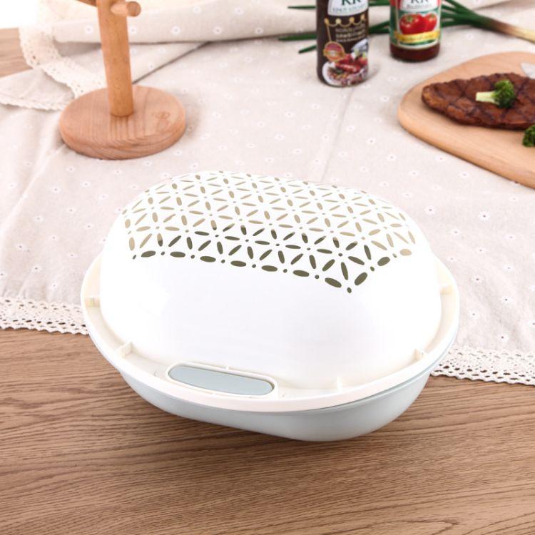 創意雙層洗菜瀝水籃 盆籃兩件套可翻轉果蔬清洗籃子洗菜盆帶菜罩