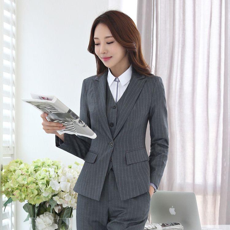 欧洲站2017秋装新款女装韩版东大门套装时尚条纹外套三件套职业