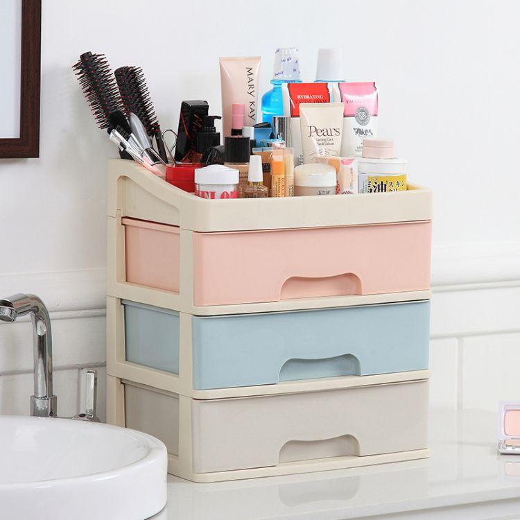 大号多层桌面收纳柜 化妆品整理箱简易桌面柜文件书桌杂物储物柜