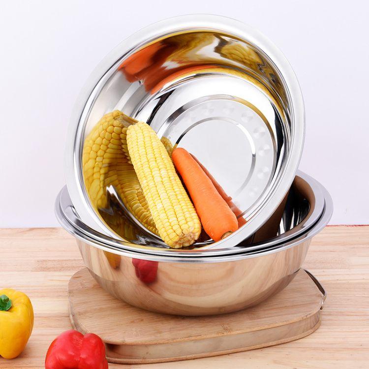 厂家供应洗菜蓄物多用盆 不锈钢无磁加厚反边面盆 不锈钢洗脸盆