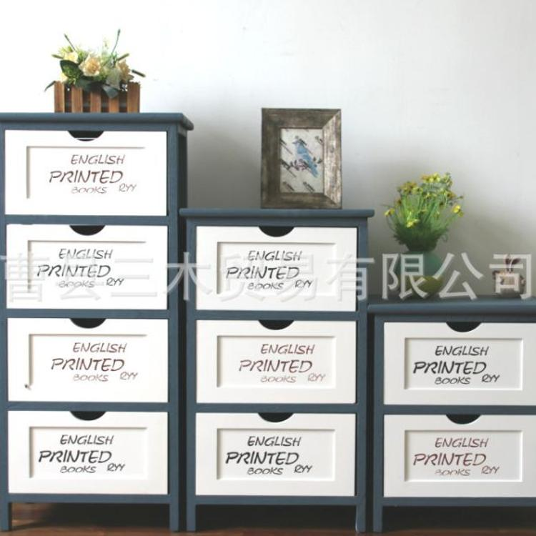厂家直销北欧田园收纳储物整理抽屉多层床头柜实木小柜子一件代发