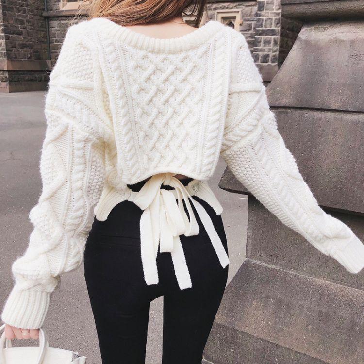 小清新白色毛衣女2018新款秋冬學生甜美V領針織上衣寬松套頭潮流