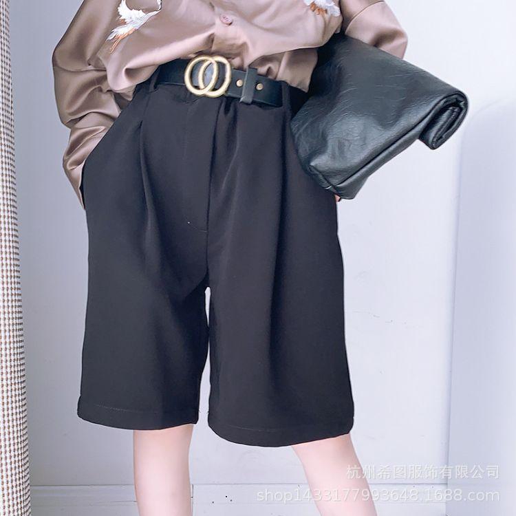 6件起批/女童裤子19秋装新款儿童男童黑色百搭时尚中裤西裤潮
