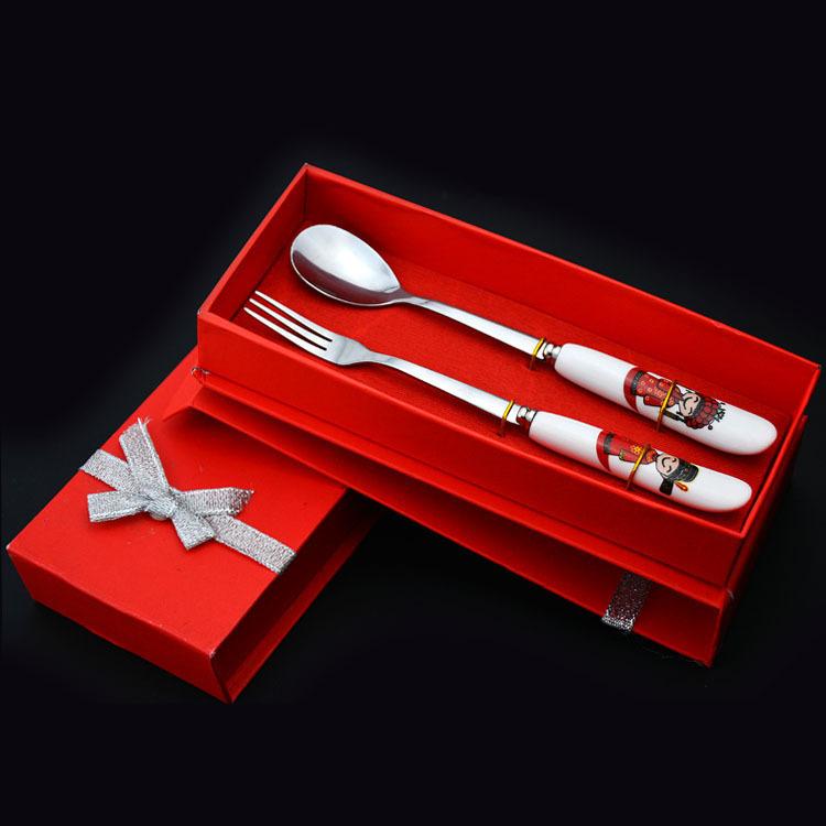 婚庆礼品餐具套 新郎新娘不锈钢餐具套装 喜庆回礼礼品餐具套装