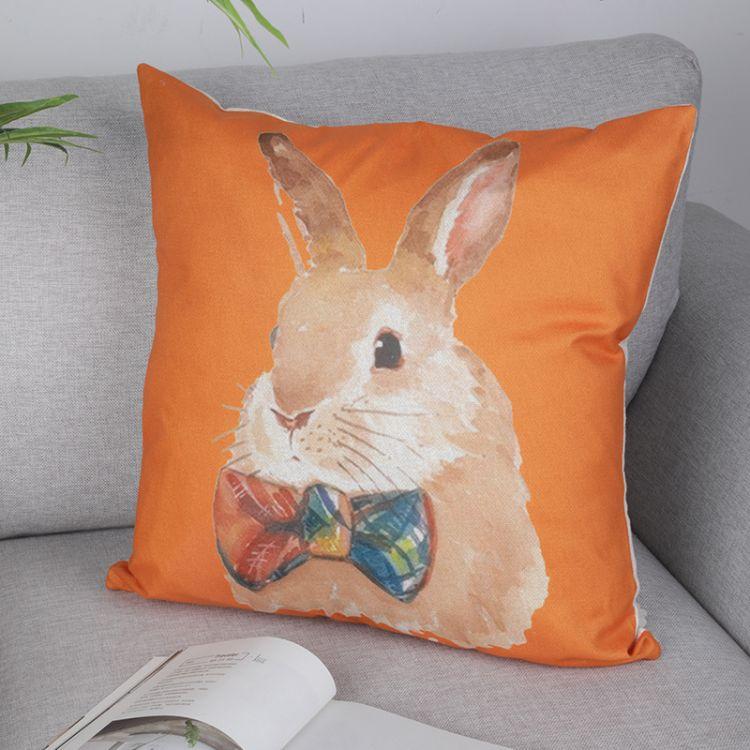 惟创橙色涤纶兔子抱枕汽车含枕芯靠枕办公室客厅沙发靠垫靠背