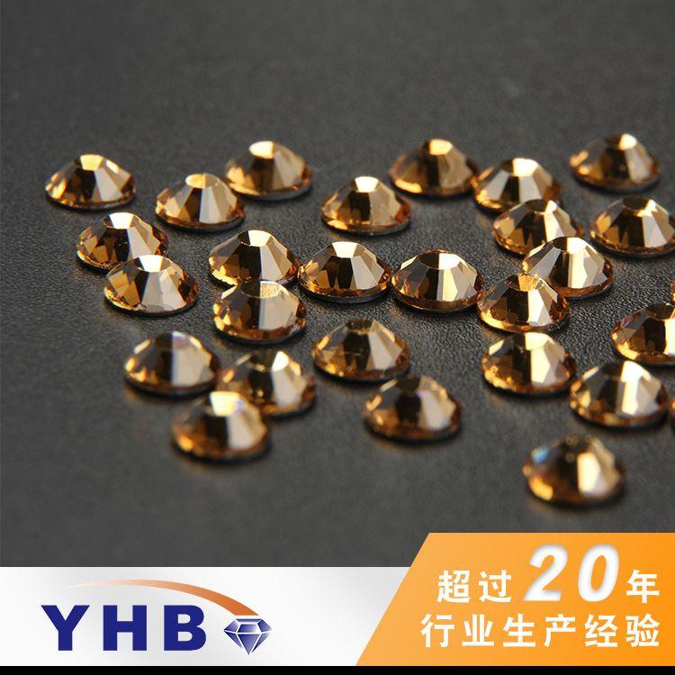 厂家批发手袋辅料烫钻 浅黄水晶玻璃环保钻 SS4-40环保烫底钻