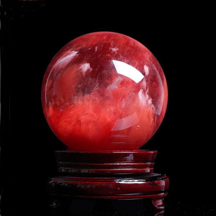 厂家直销天然红水晶球摆件鸿运当头 风水球镇宅家居摆件