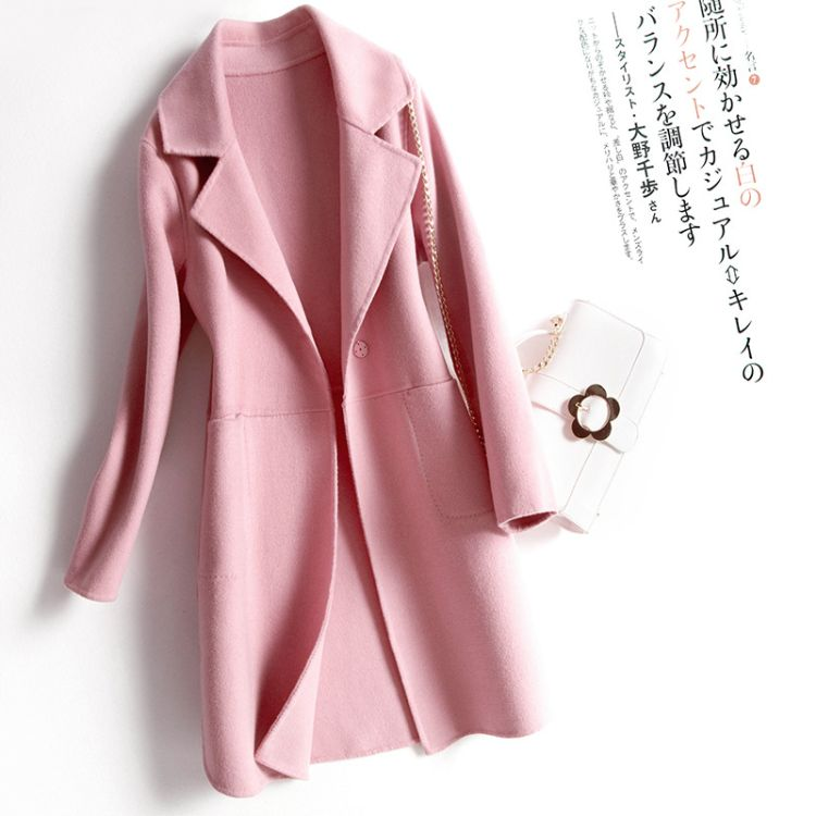 2018秋冬新款女100纯羊毛毛呢大衣手工高端双面呢子长款修身外套