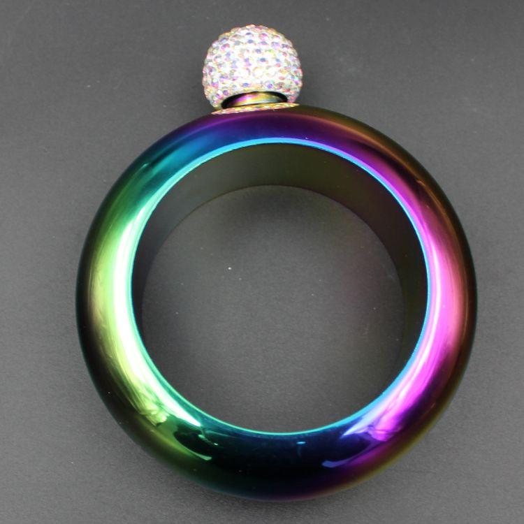 304不锈钢手镯酒壶 便携式3.5盎司圆形酒瓶俄罗斯钻石盖手环酒壶