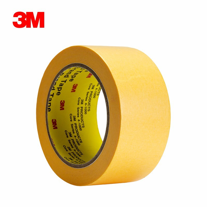 3M244SP 美纹纸遮蔽胶带 黄色耐高温汽车喷漆遮蔽胶带【未税】