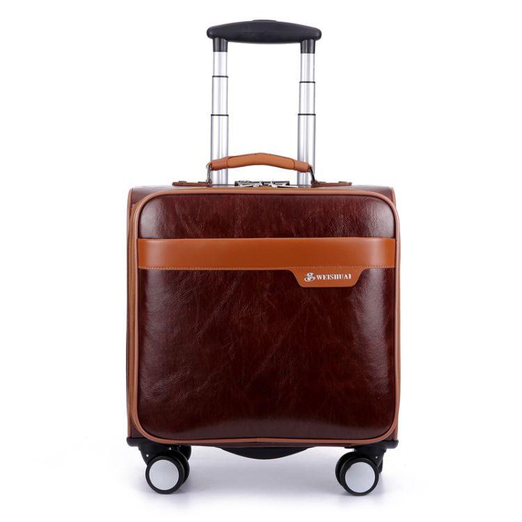 廠家批發拉桿箱PU皮萬向輪行李箱密碼箱男士商務旅行箱登機箱16寸