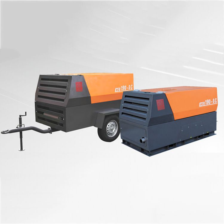 供应HG190-8C小型柴移螺杆空压机 红五环柴油螺杆式空气压缩机
