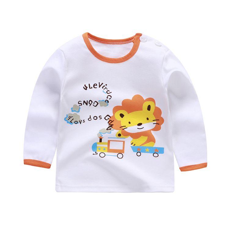 秋季新款純棉兒童T恤長袖嬰幼兒卡通上衣長袖廠家直銷一件代發