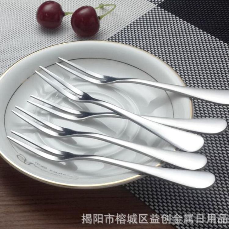 创意环保不锈钢水果叉 韩式水果签 蛋糕甜品叉子月饼叉 可印LOGO