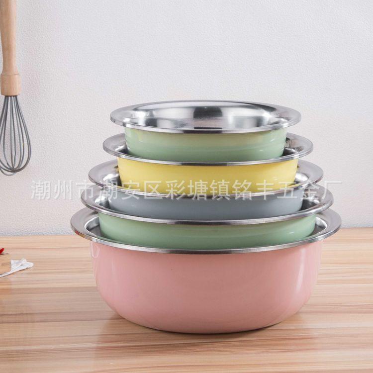 厂家直销不锈钢洗菜盆 家用洗面盆 反边食堂汤盆 北欧色带磁面盆