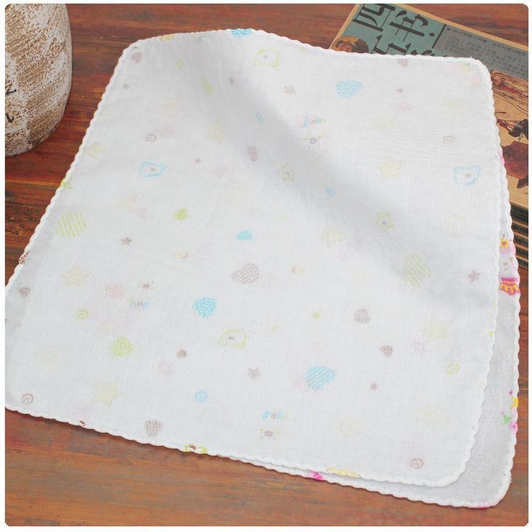 25*25双层高密度印花纱布手帕喂奶巾婴儿纱巾小方巾宝宝口水巾