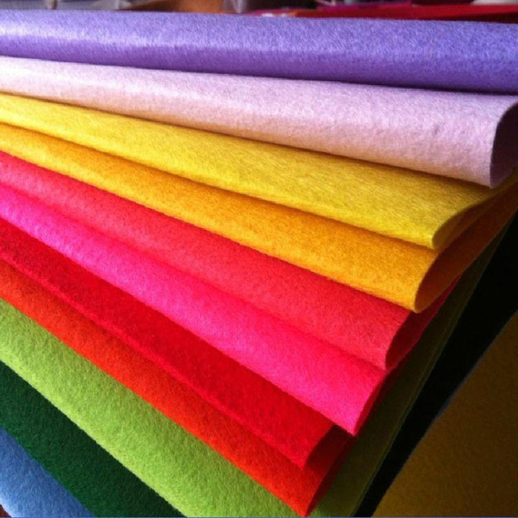厂家直销 工艺化纤涤纶毛毡 多用途羊毛化纤彩色毛毡布批发