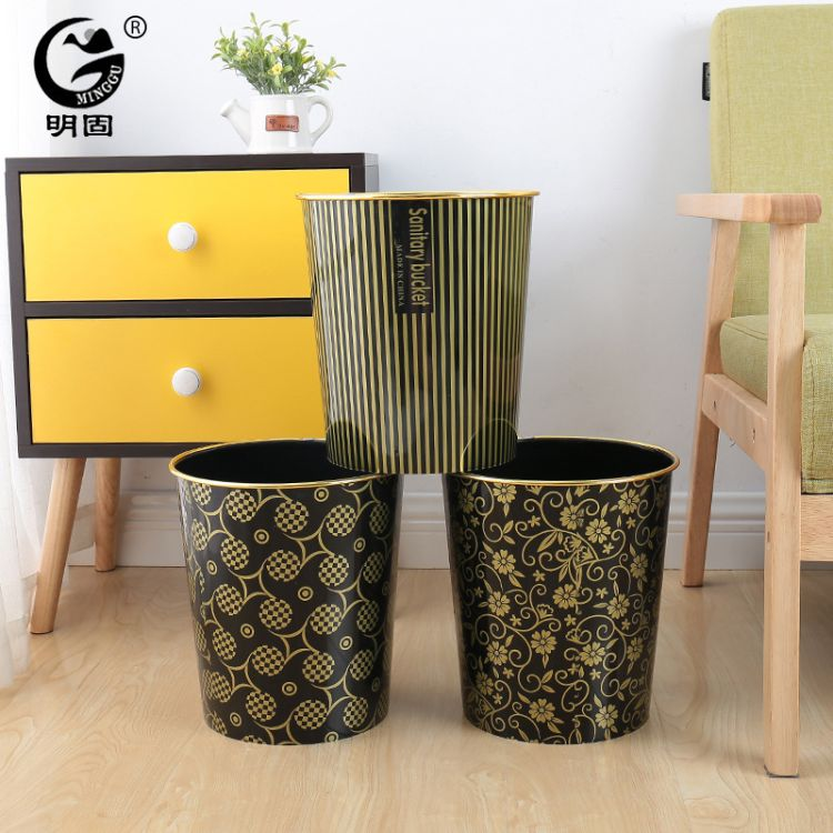 顺天成厂家直销塑料垃圾桶印花纸篓收纳筒家居垃圾桶办公室垃圾桶