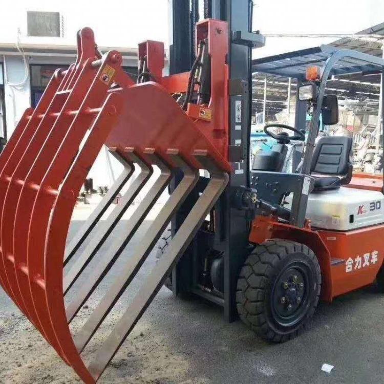 供应装卸专用纸卷夹叉车 二手合力3吨砖抱夹叉车出售