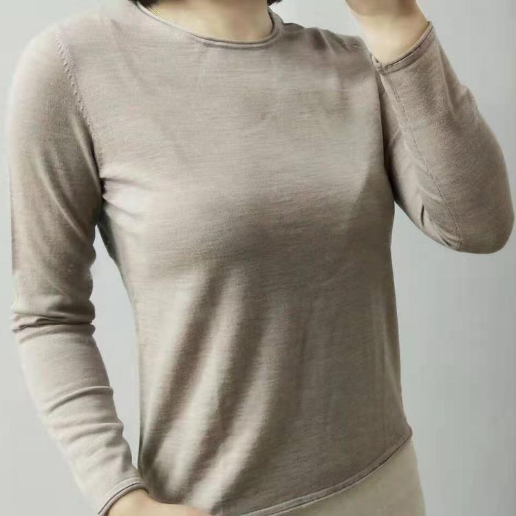 圓領卷邊精紡極細美麗諾羊毛衫2103 勛云廠家批發一件包郵