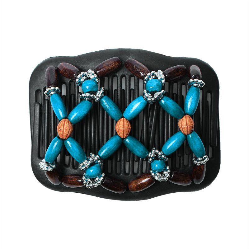 BZ931个性创意仿木双排插百变发梳女士头发魔术发夹盘发器