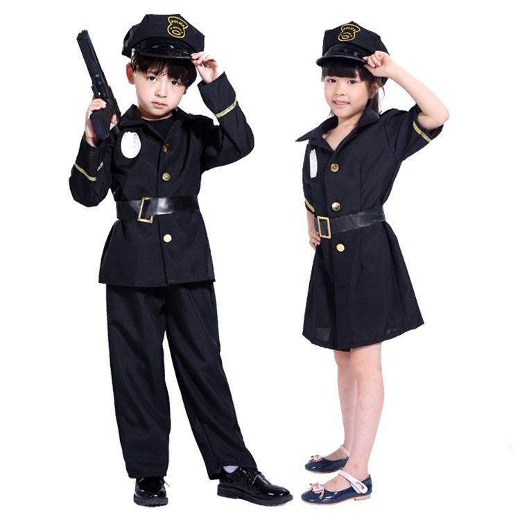 万圣节cosplay服装男童警察服装扮演服装儿童警察服装送帽子现货