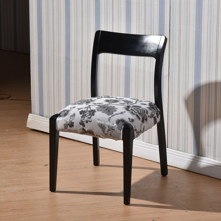 布艺餐椅时尚简约现代家居黑色水曲柳餐桌椅组合配套实木餐椅