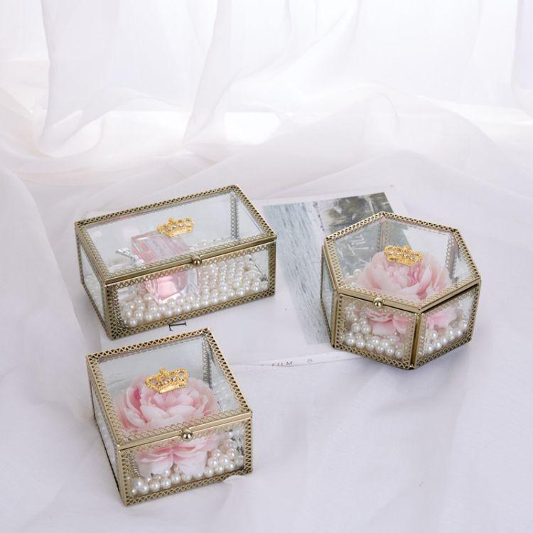 皇冠玻璃饰品盒化妆品收纳盒透明玻璃工艺品礼品永生花玻璃盒