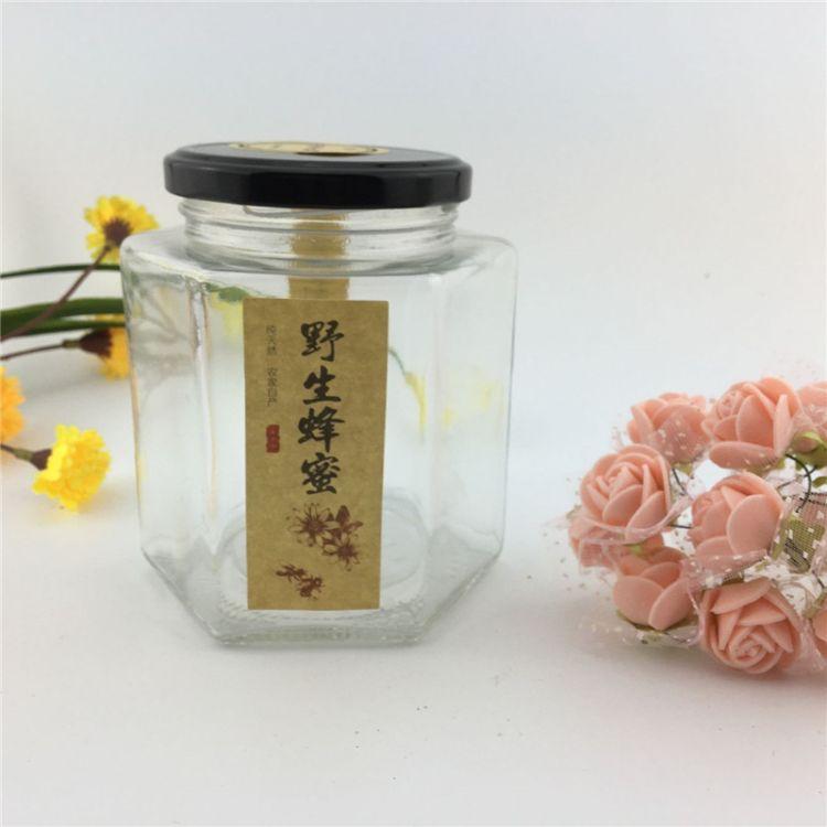 蜂蜜玻璃瓶 系列密封果酱瓶六棱酱菜玻璃瓶无铅六角包装瓶喜蜜瓶
