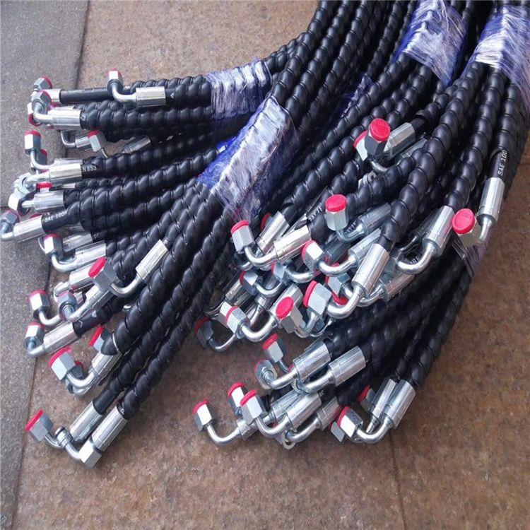 高压油管 橡胶软管 液压胶管 装载机油管总成4SP 矿用胶管 把手头