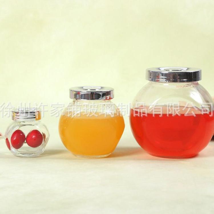 180ml扁鼓瓶玻璃糖果储物罐多用玻璃密封瓶茶业瓶蜂蜜玻璃瓶批发