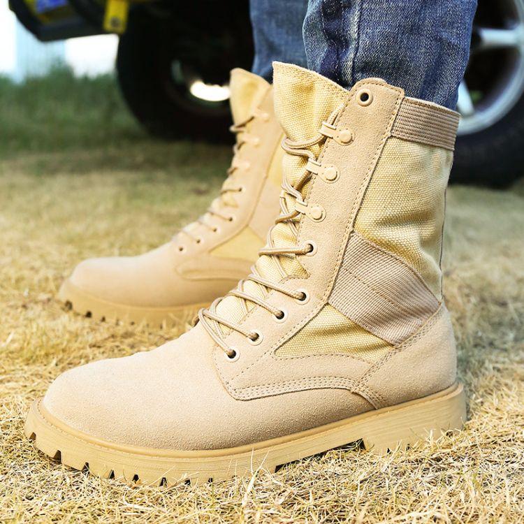 马丁靴男秋季英伦帆布中帮短靴沙漠工装男鞋潮男靴子百搭军靴高帮