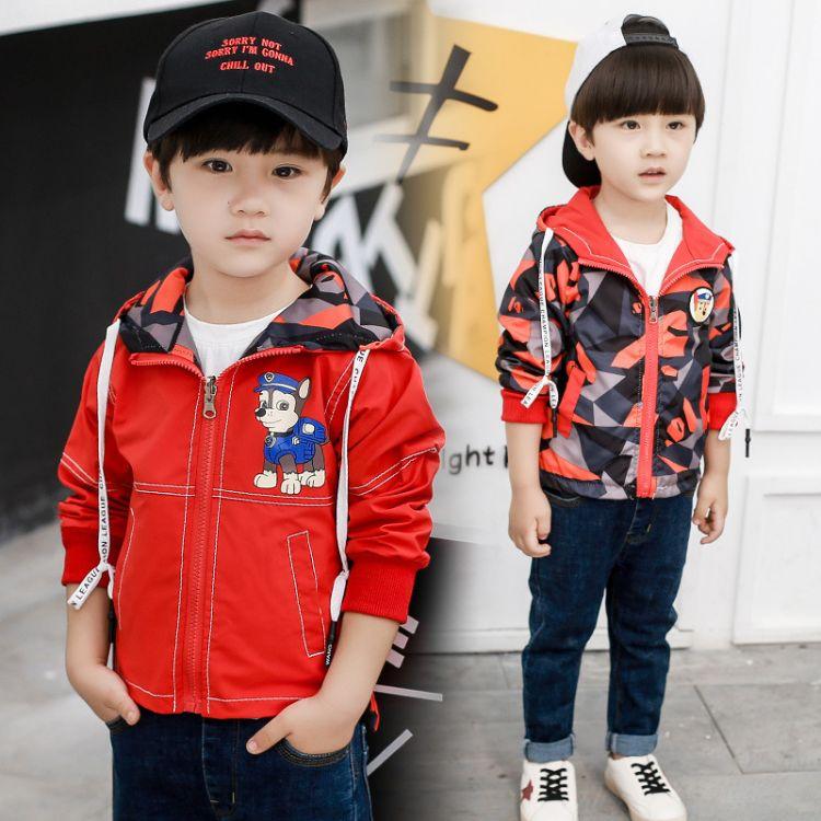 双面穿男童夹克外套2018新款中小童风衣短款卡通印花一件代发潮