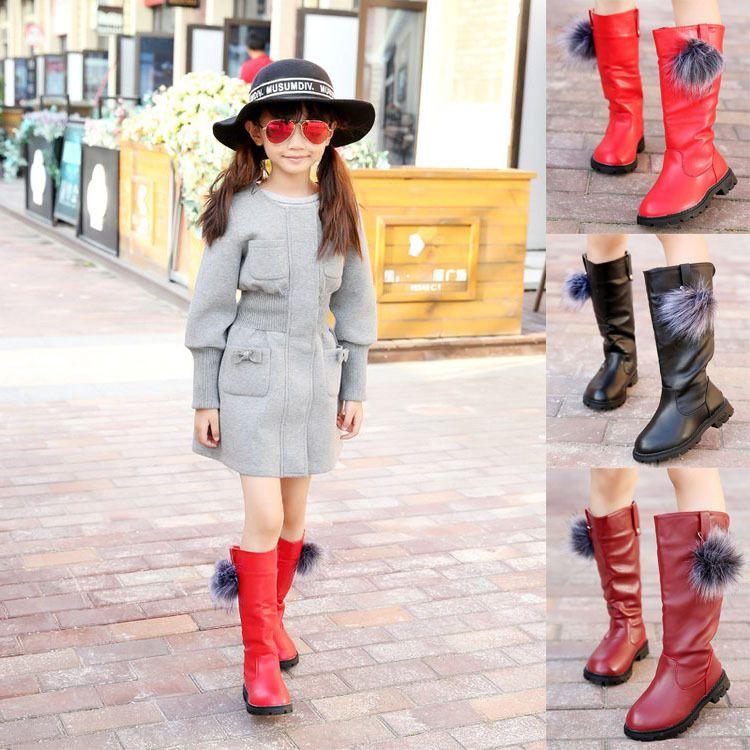 童靴2018冬季新款韩版时尚女童长筒靴中大童儿童棉鞋跨境高筒靴潮
