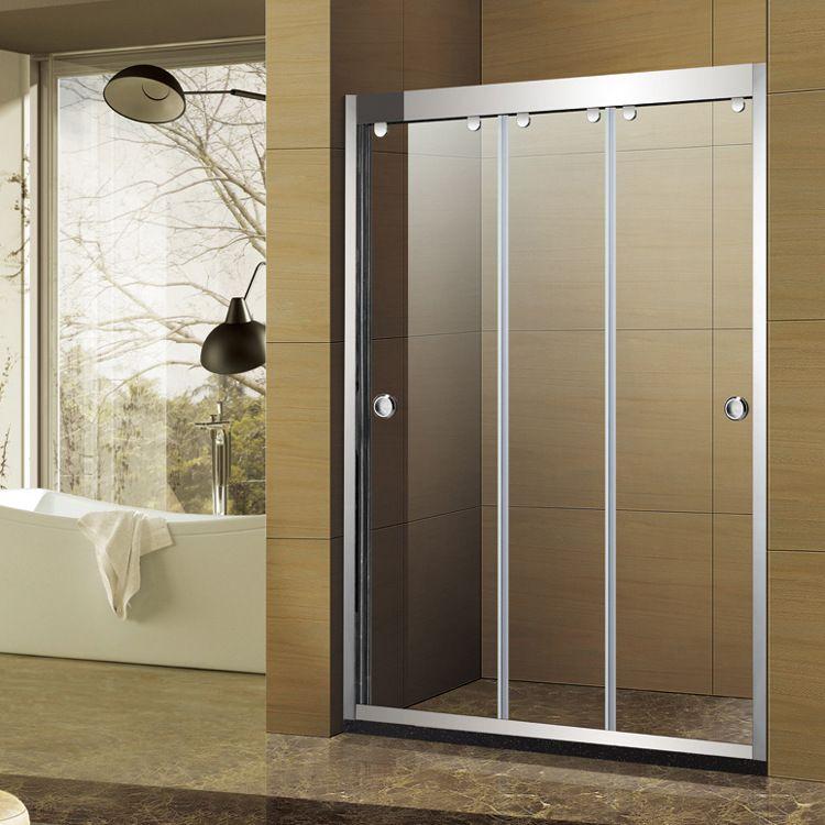 卫生间隔断玻璃门淋浴房一字形不锈钢移门式家用钢化浴屏整体定制