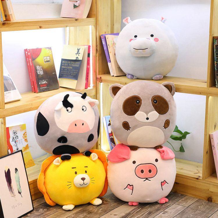 森林动物抱枕河马浣熊猪猪奶牛狮子毛绒玩具睡觉布娃娃女生日礼物