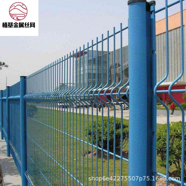 植基 厂家直销 桃型柱护栏网 三角折弯护栏网 小区围栏网