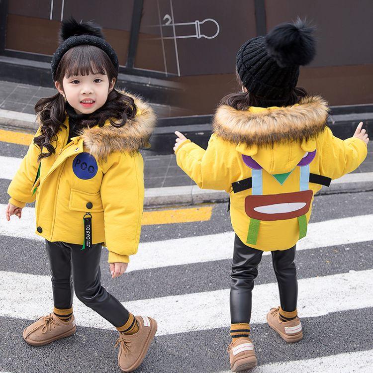 儿童棉衣2018冬季新品韩版女童棉衣时尚宝宝面包服毛领棉服