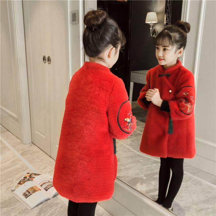 女童拜年服加厚唐装中国风儿童过年喜庆衣服复古加绒汉服新年童装