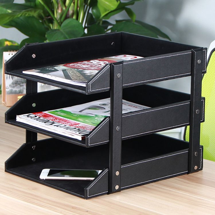 皮革三层文件盘文件架 皮革多层资料架 三层木质桌面收纳置物架盘